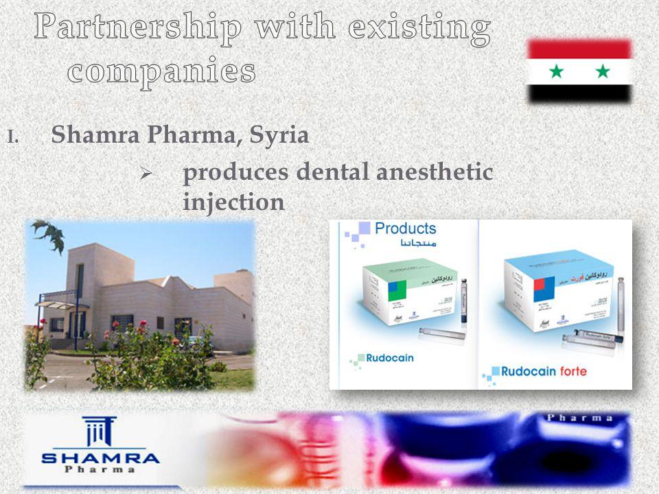 I. Shamra Pharma, Syria  produces dental anesthetic injection