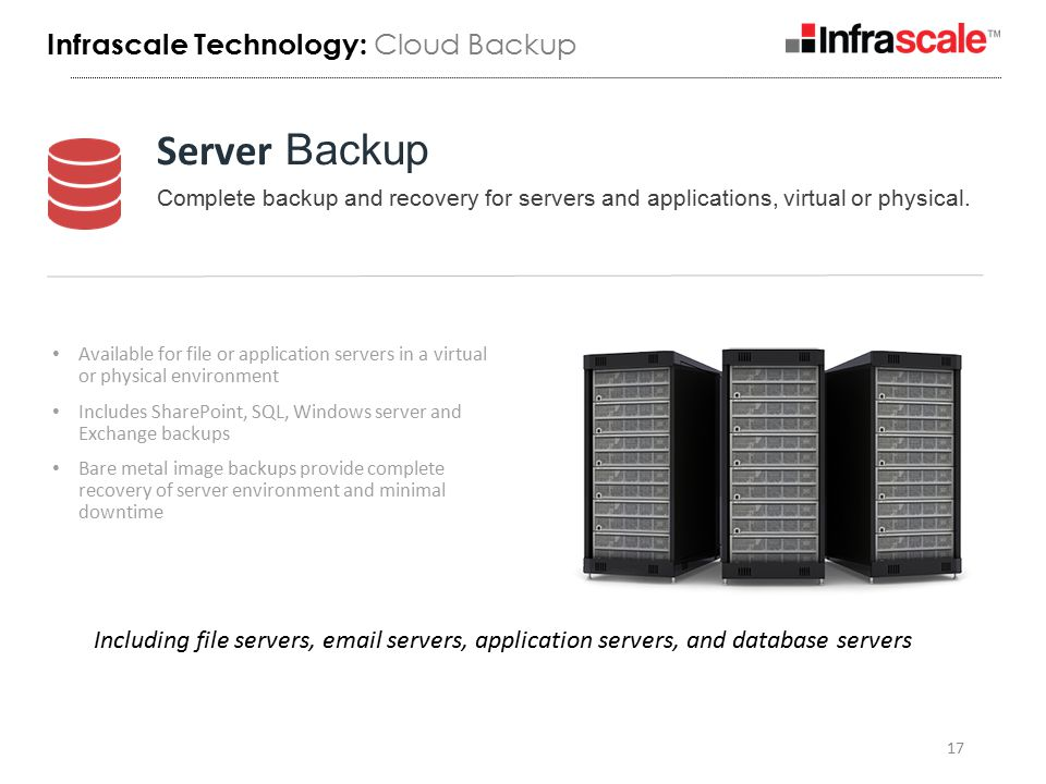 Available for file or application servers in a virtual or physical environment Includes SharePoint, SQL, Windows server and Exchange backups Bare metal image backups provide complete recovery of server environment and minimal downtime 17 Server Backup Complete backup and recovery for servers and applications, virtual or physical.