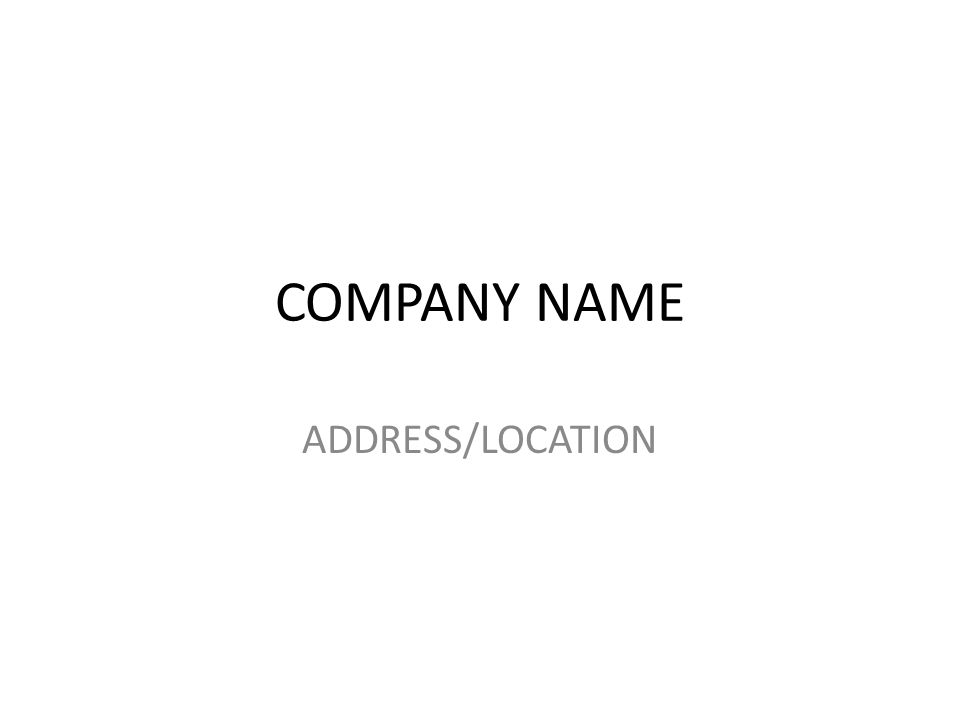 COMPANY NAME ADDRESS/LOCATION