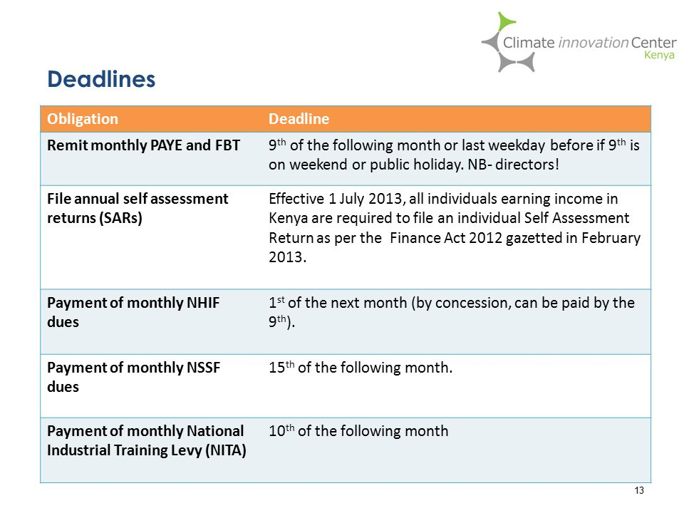 Deadlines 13 ObligationDeadline Remit monthly PAYE and FBT9 th of the following month or last weekday before if 9 th is on weekend or public holiday.