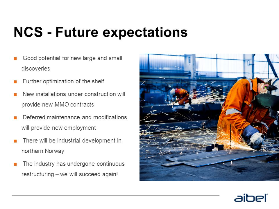Strategy and goals ■ Aibel has a leading position on the Norwegian continental shelf and aims to maintain this position ■ We aim to expand internationally ■ Need for cost reduction and increased efficiency - We reposition and make improvements ■ Integrated and cost effective execution model ■ Increased international interest in the implementation of our projects