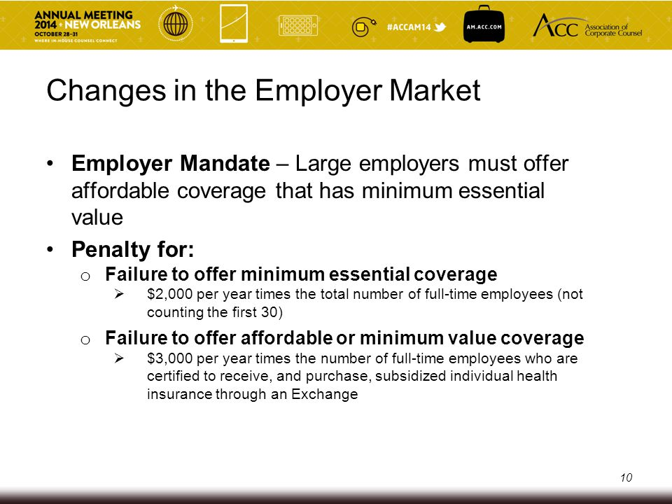 Changes in the Employer Market Employer Mandate – Large employers must offer affordable coverage that has minimum essential value Penalty for: o Failu