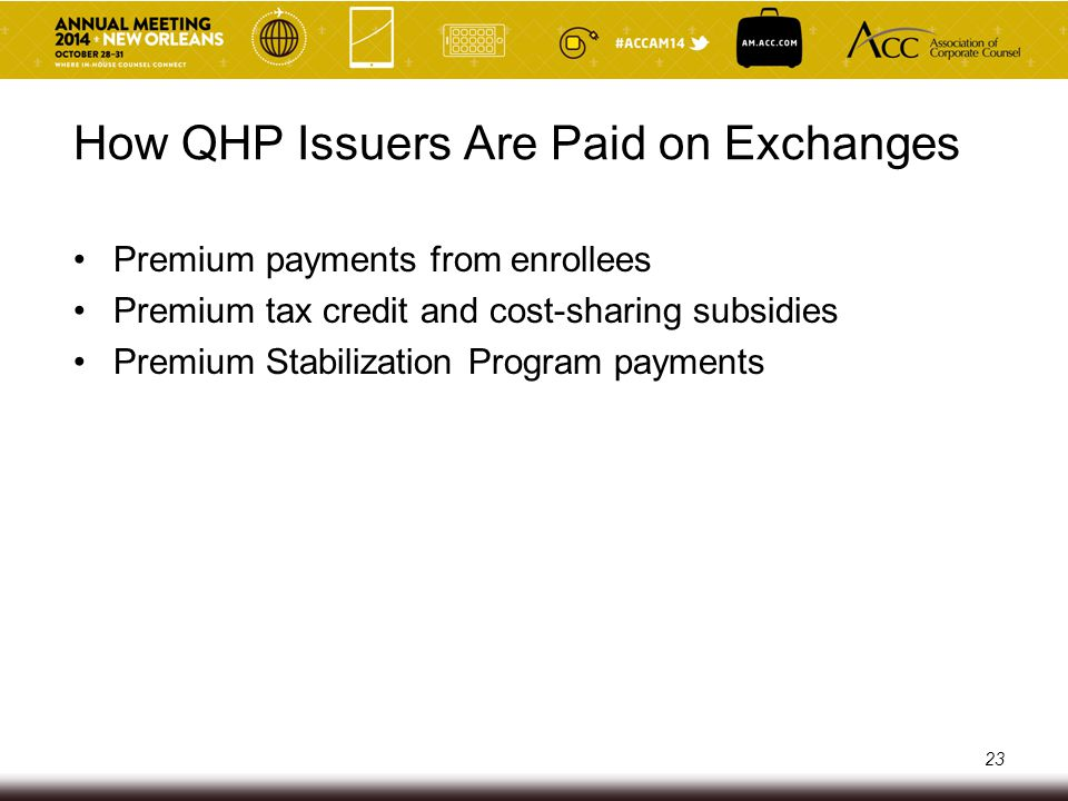 How QHP Issuers Are Paid on Exchanges Premium payments from enrollees Premium tax credit and cost-sharing subsidies Premium Stabilization Program paym