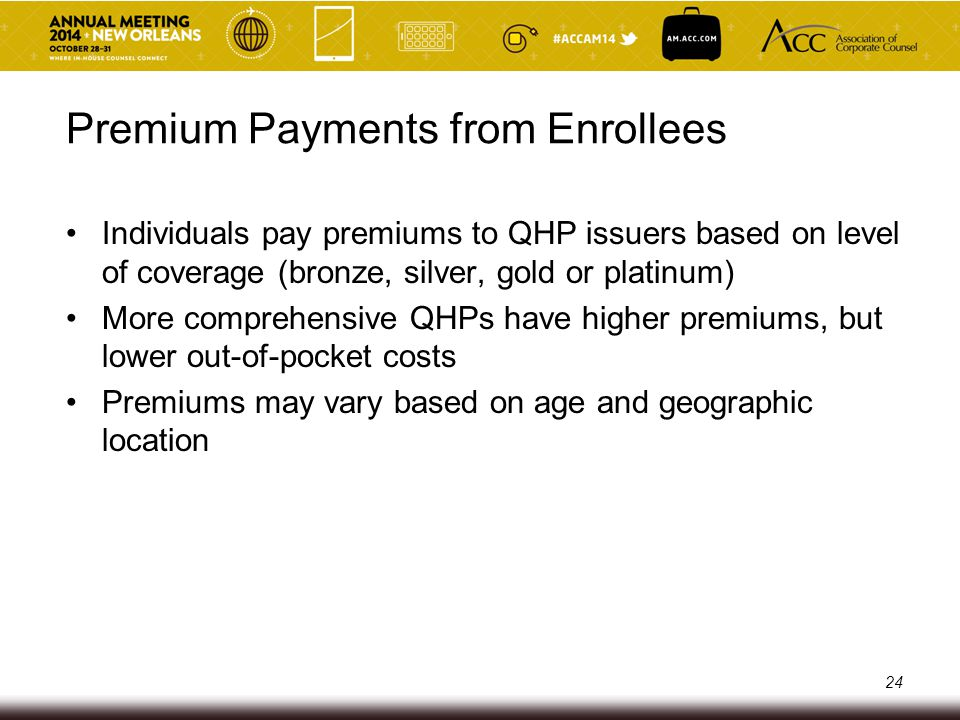 Premium Payments from Enrollees Individuals pay premiums to QHP issuers based on level of coverage (bronze, silver, gold or platinum) More comprehensi