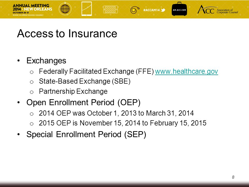 Access to Insurance Exchanges o Federally Facilitated Exchange (FFE) www.healthcare.govwww.healthcare.gov o State-Based Exchange (SBE) o Partnership E