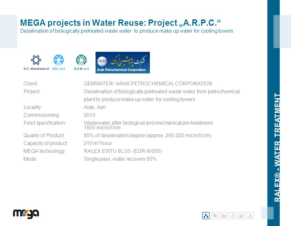"RALEX® - WATER TREATMENT MEGA projects in Water Reuse: Project ""A.R.P.C."" Desalination of biologically pretreated waste water to produce make up water"