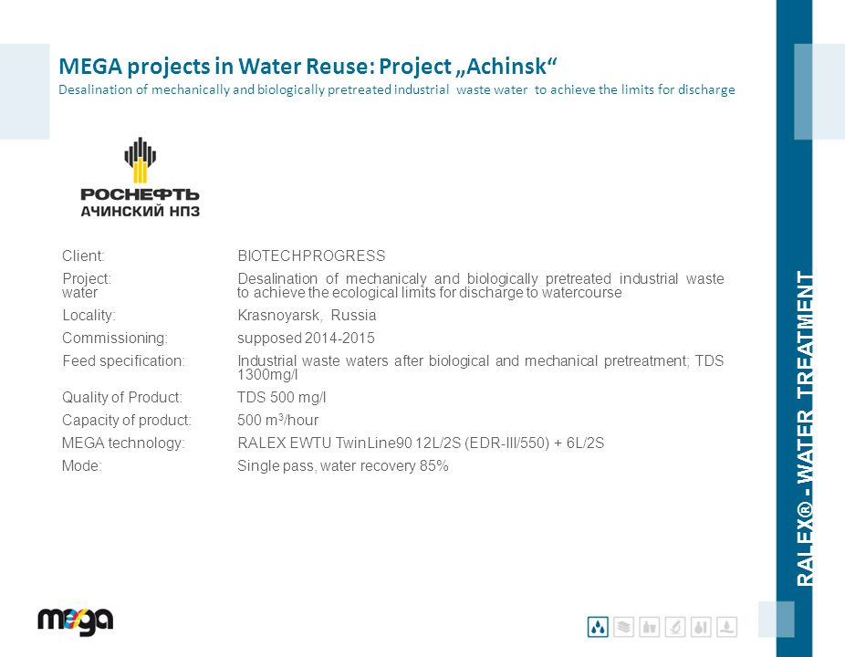 "RALEX® - WATER TREATMENT MEGA projects in Water Reuse: Project ""Achinsk"" Desalination of mechanically and biologically pretreated industrial waste wat"