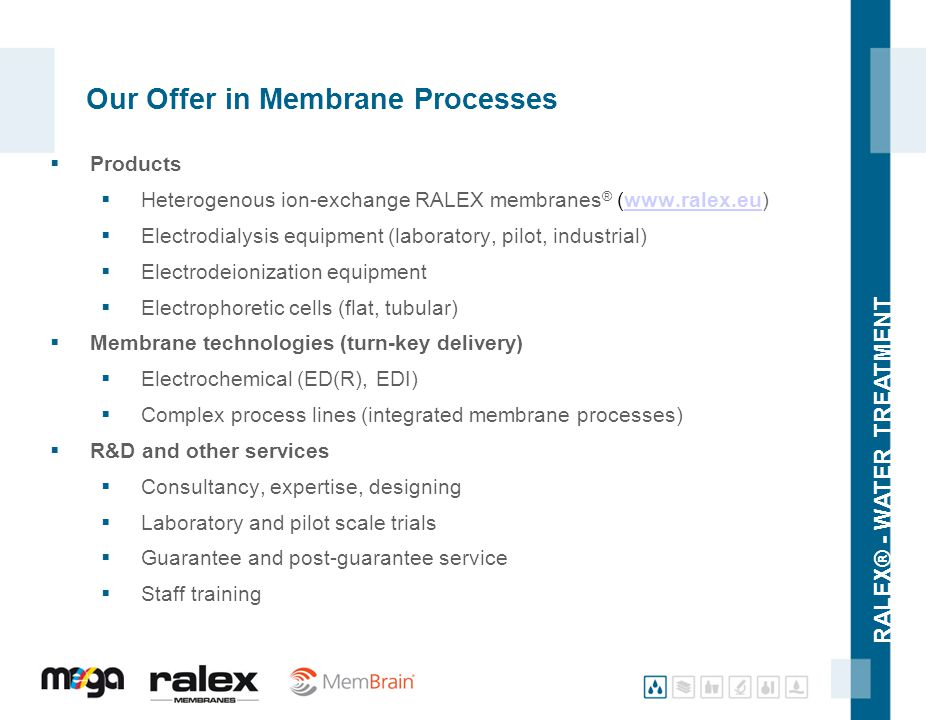 RALEX® - WATER TREATMENT Our Offer in Membrane Processes  Products  Heterogenous ion-exchange RALEX membranes ® (www.ralex.eu)www.ralex.eu  Electro