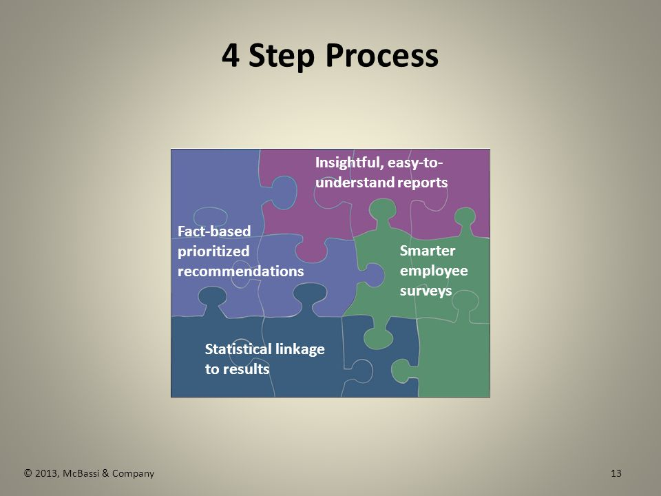 © 2013, McBassi & Company 4 Step Process The Economic Imperative Statistical linkage to results Fact-based prioritized recommendations Insightful, easy-to- understand reports Smarter employee surveys 13
