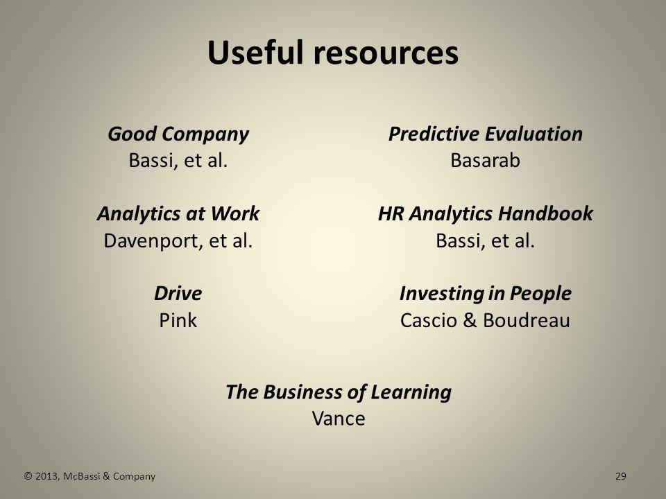 Useful resources Good Company Bassi, et al. Analytics at Work Davenport, et al.