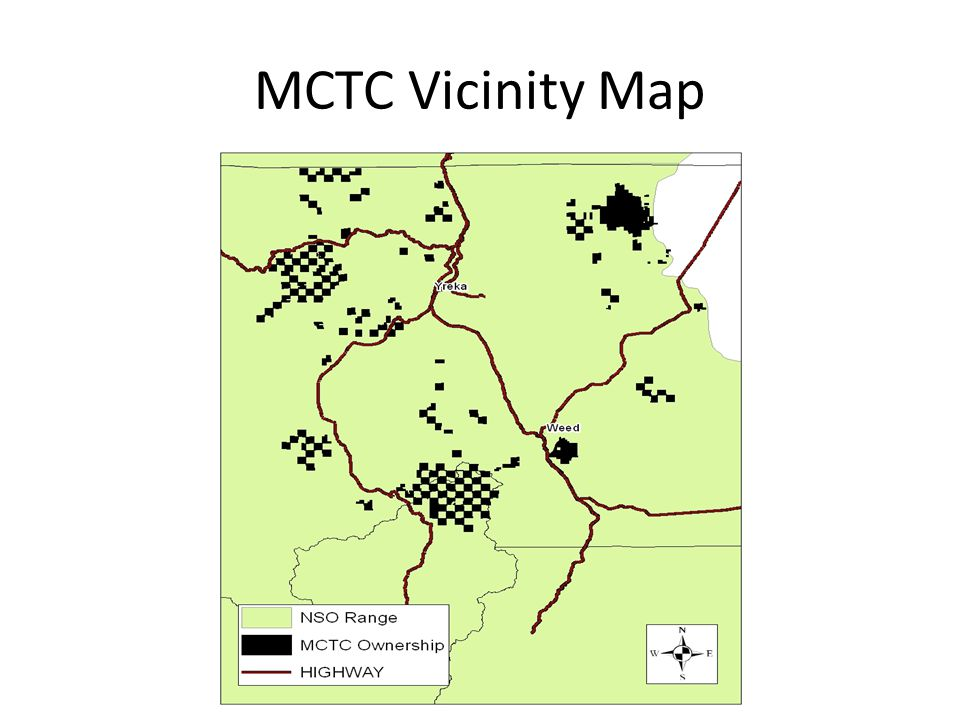 MCTC OVERVIEW Approximately 114,000 acres Acquired in 1994 Checkerboard pattern Located on the edge of the NSO's range Elevations range from around 2000' to over 8,000' above sea level Timbered stands are mostly Klamath mixed conifer, ponderosa pine, and true fir