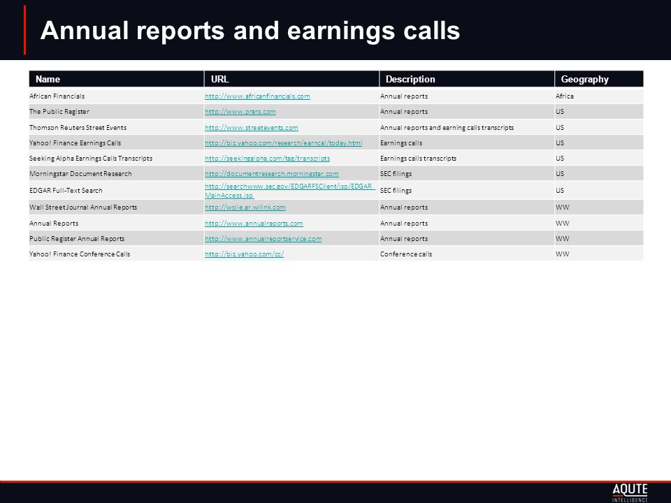 Annual reports and earnings calls NameURLDescriptionGeography African Financialshttp://www.africanfinancials.comAnnual reportsAfrica The Public Registerhttp://www.prars.comAnnual reportsUS Thomson Reuters Street Eventshttp://www.streetevents.comAnnual reports and earning calls transcriptsUS Yahoo.