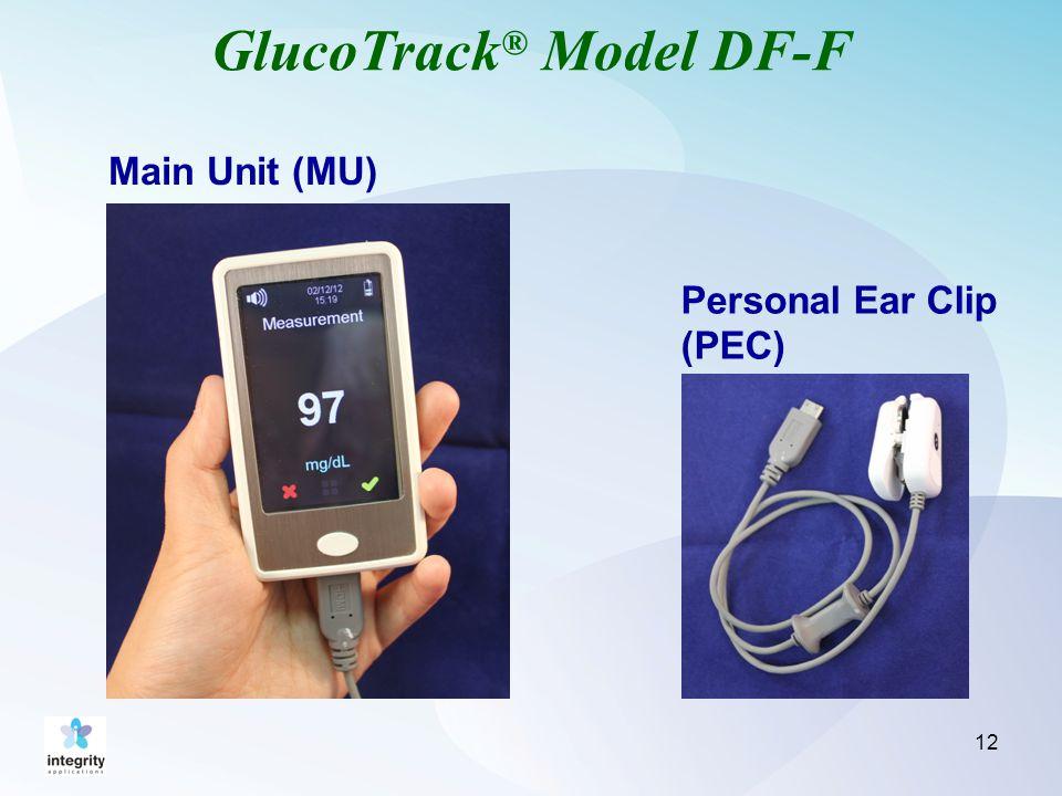 GlucoTrack ® Model DF-F 12 Main Unit (MU) Personal Ear Clip (PEC)