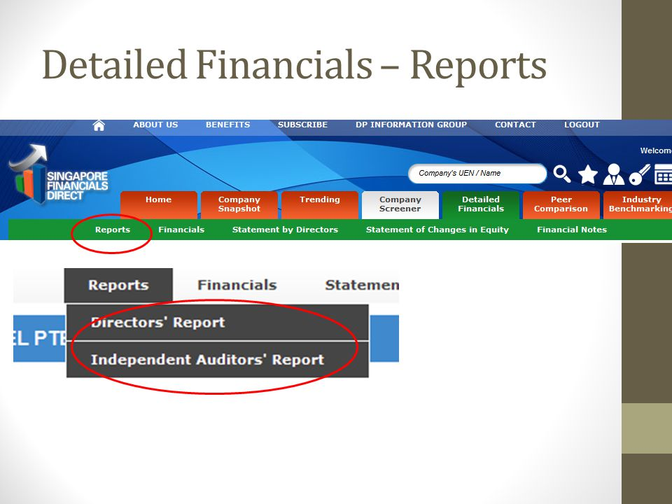 Detailed Financials – Reports