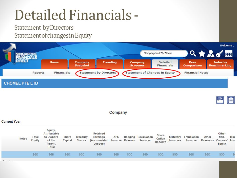 Detailed Financials - Statement by Directors Statement of changes in Equity