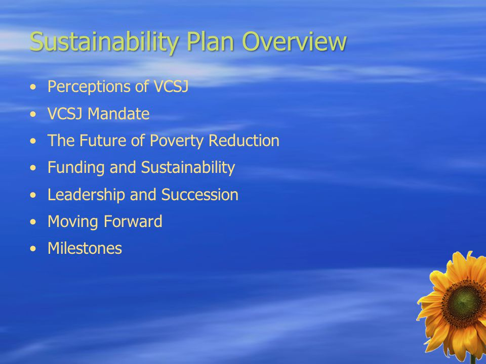 Sustainability Plan Overview Perceptions of VCSJ VCSJ Mandate The Future of Poverty Reduction Funding and Sustainability Leadership and Succession Moving Forward Milestones