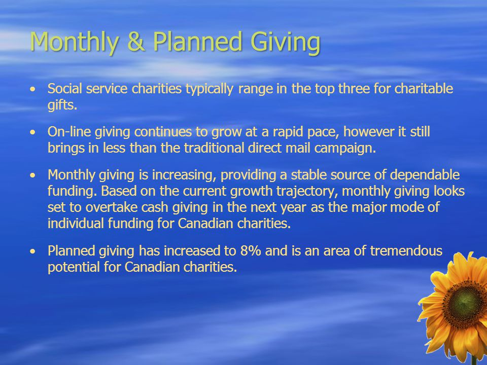 Monthly & Planned Giving Social service charities typically range in the top three for charitable gifts.