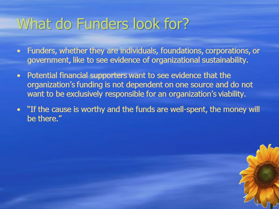 What do Funders look for? Funders, whether they are individuals, foundations, corporations, or government, like to see evidence of organizational sust