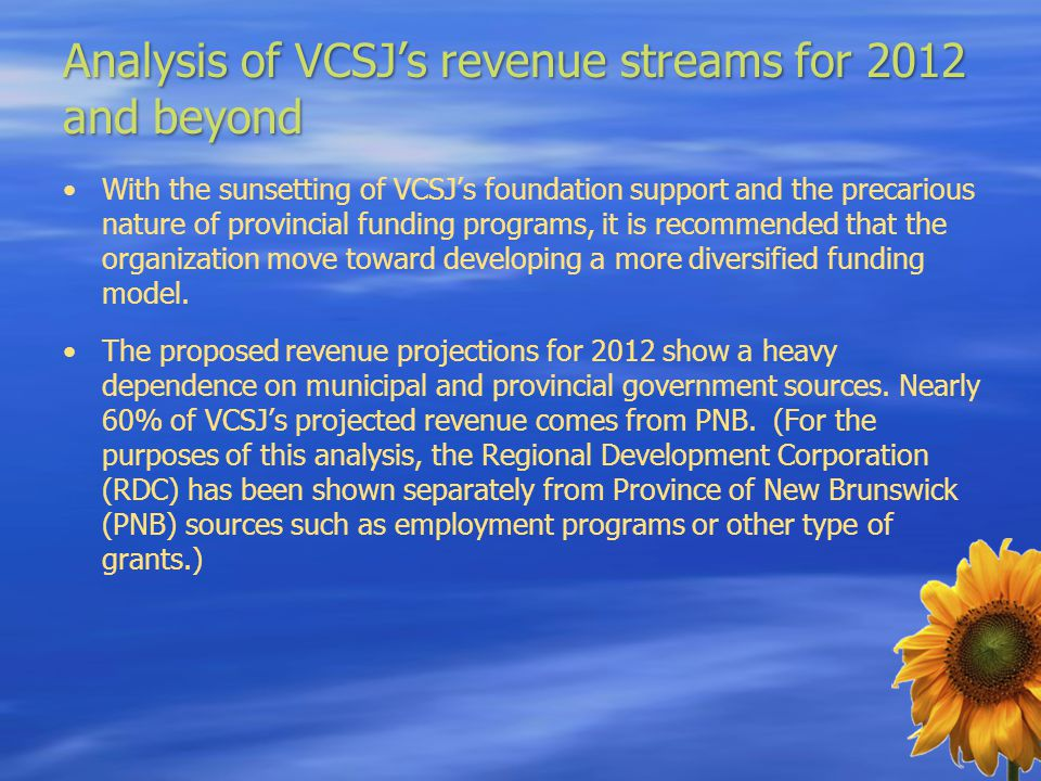 Analysis of VCSJ's revenue streams for 2012 and beyond With the sunsetting of VCSJ's foundation support and the precarious nature of provincial fundin
