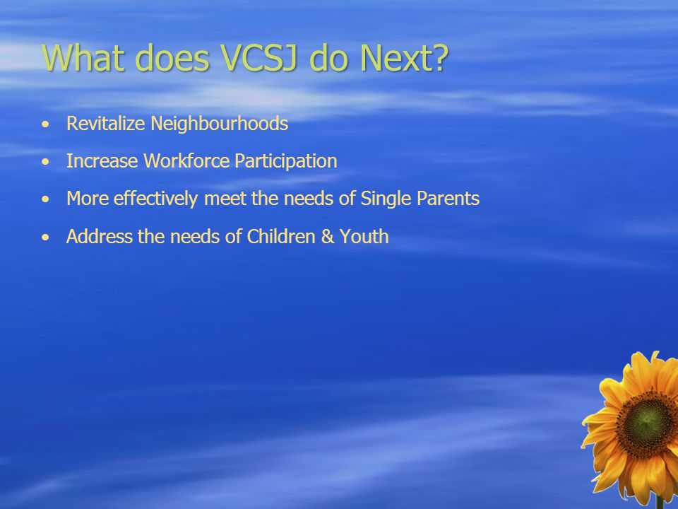 What does VCSJ do Next? Revitalize Neighbourhoods Increase Workforce Participation More effectively meet the needs of Single Parents Address the needs