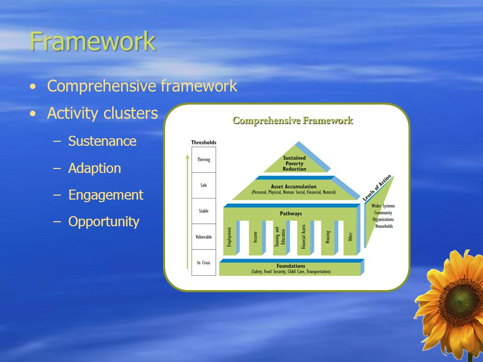 Framework Comprehensive framework Activity clusters –Sustenance –Adaption –Engagement –Opportunity