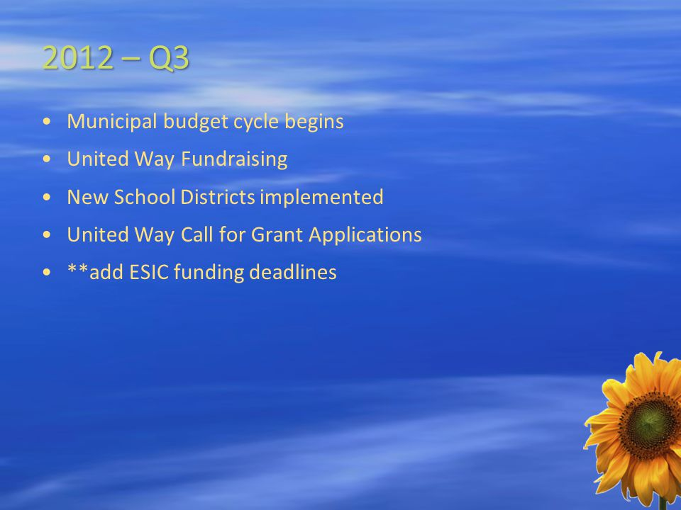 2012 – Q3 Municipal budget cycle begins United Way Fundraising New School Districts implemented United Way Call for Grant Applications **add ESIC funding deadlines