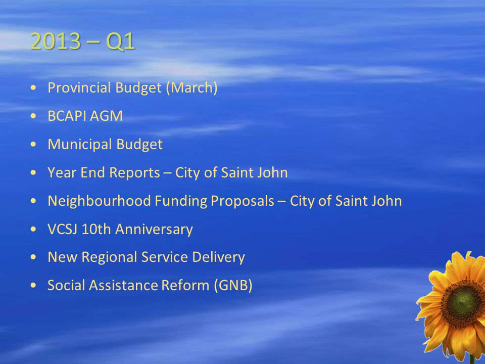 2013 – Q1 Provincial Budget (March) BCAPI AGM Municipal Budget Year End Reports – City of Saint John Neighbourhood Funding Proposals – City of Saint John VCSJ 10th Anniversary New Regional Service Delivery Social Assistance Reform (GNB)