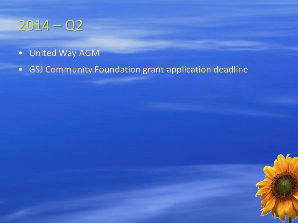2014 – Q2 United Way AGM GSJ Community Foundation grant application deadline