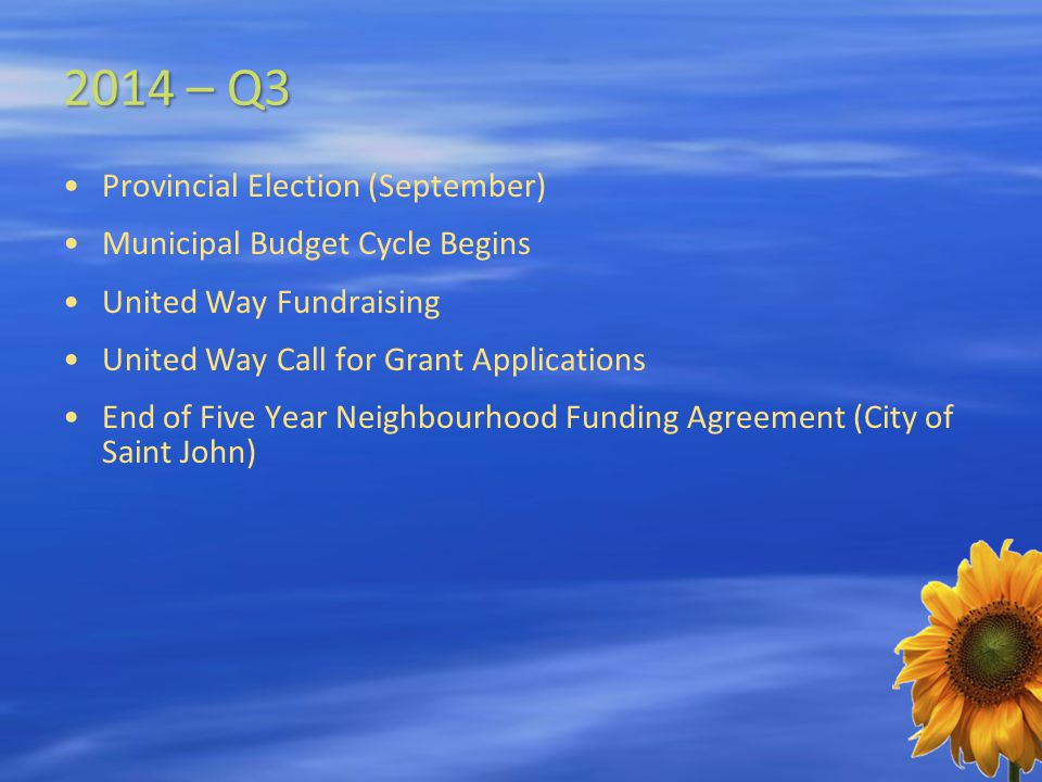 2014 – Q3 Provincial Election (September) Municipal Budget Cycle Begins United Way Fundraising United Way Call for Grant Applications End of Five Year Neighbourhood Funding Agreement (City of Saint John)