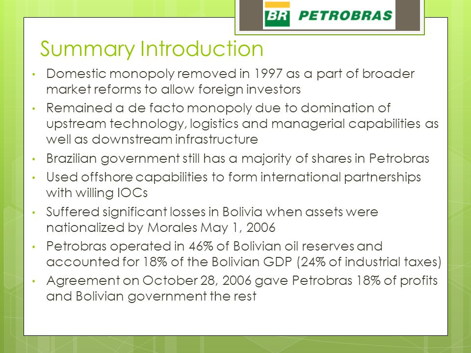 Summary Introduction Domestic monopoly removed in 1997 as a part of broader market reforms to allow foreign investors Remained a de facto monopoly due