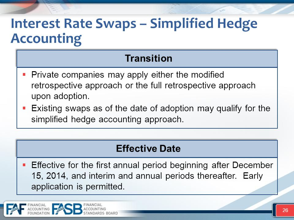 Interest Rate Swaps – Simplified Hedge Accounting 26  Private companies may apply either the modified retrospective approach or the full retrospectiv