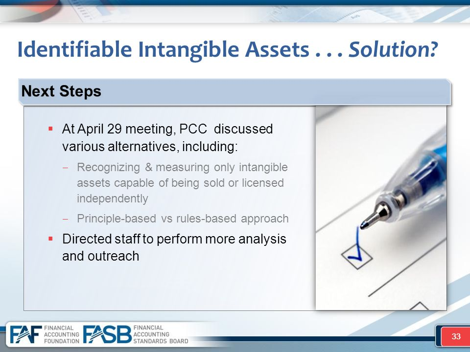 33  At April 29 meeting, PCC discussed various alternatives, including: ‒ Recognizing & measuring only intangible assets capable of being sold or lic