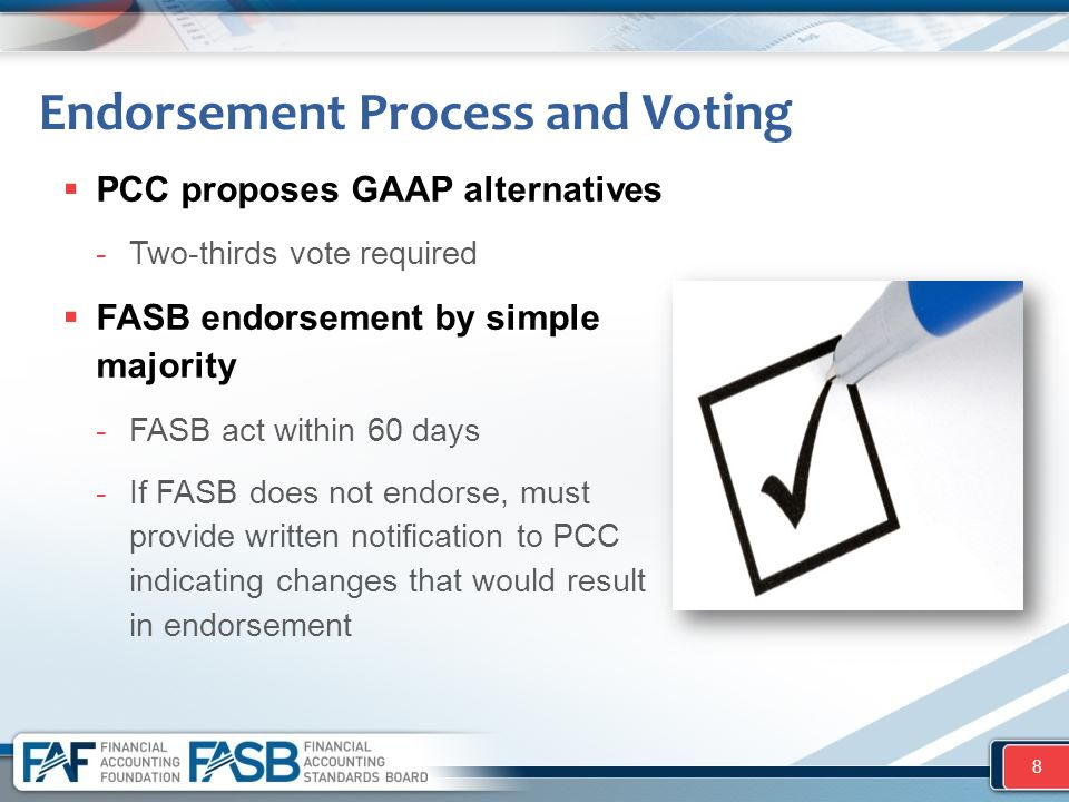 Endorsement Process and Voting  PCC proposes GAAP alternatives -Two-thirds vote required  FASB endorsement by simple majority -FASB act within 60 da