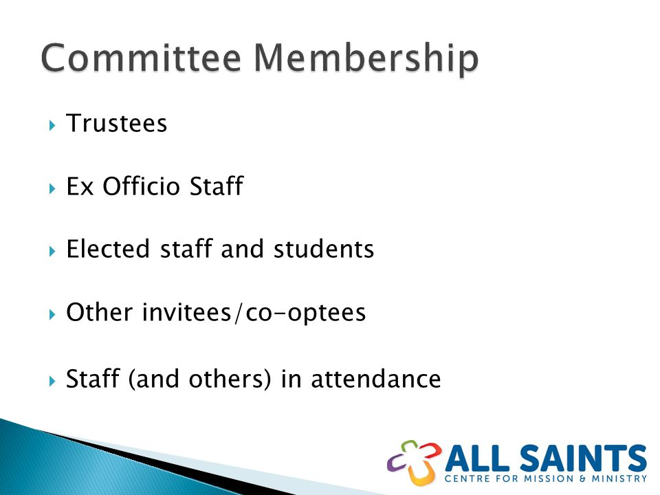  Trustees  Ex Officio Staff  Elected staff and students  Other invitees/co-optees  Staff (and others) in attendance