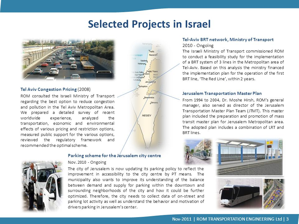 Selected Projects in Israel Tel Aviv Congestion Pricing (2008) ROM consulted the Israeli Ministry of Transport regarding the best option to reduce con
