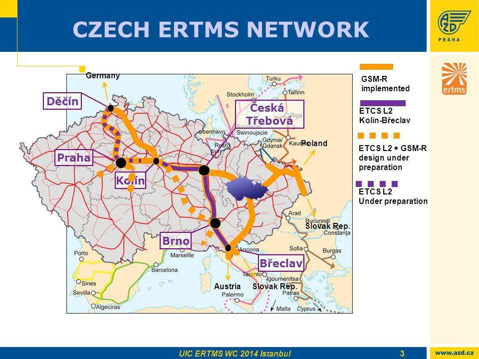 CZECH ERTMS NETWORK 3 Česká Třebová GSM-R implemented ETCS L2 Kolín-Břeclav ETCS L2 Under preparation ETCS L2 + GSM-R design under preparation UIC ERTMS WC 2014 Istanbul Břeclav Praha Děčín Kolín Brno AustriaSlovak Rep.