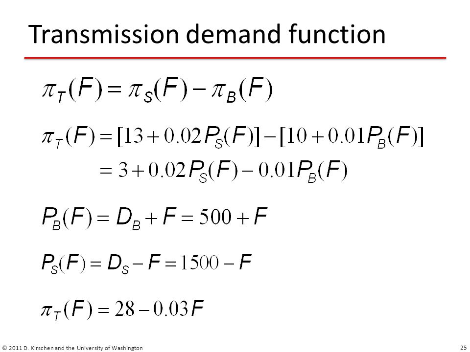 Transmission demand function © 2011 D. Kirschen and the University of Washington 25