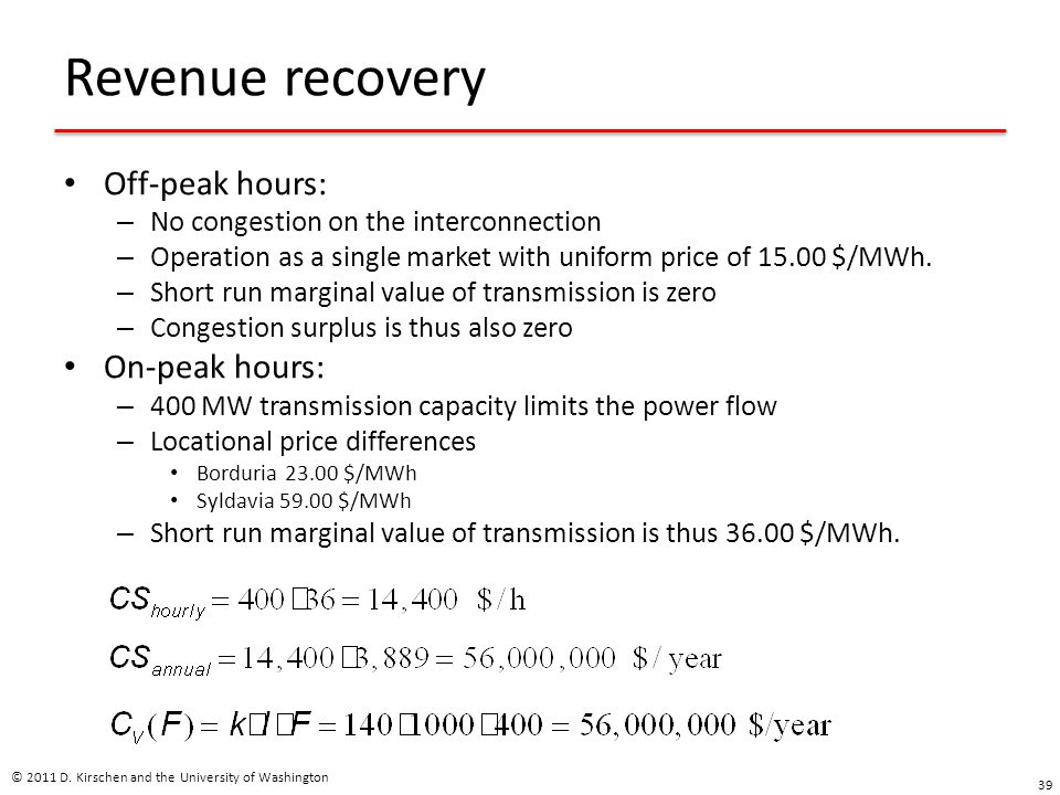 Revenue recovery Off-peak hours: – No congestion on the interconnection – Operation as a single market with uniform price of 15.00 $/MWh.