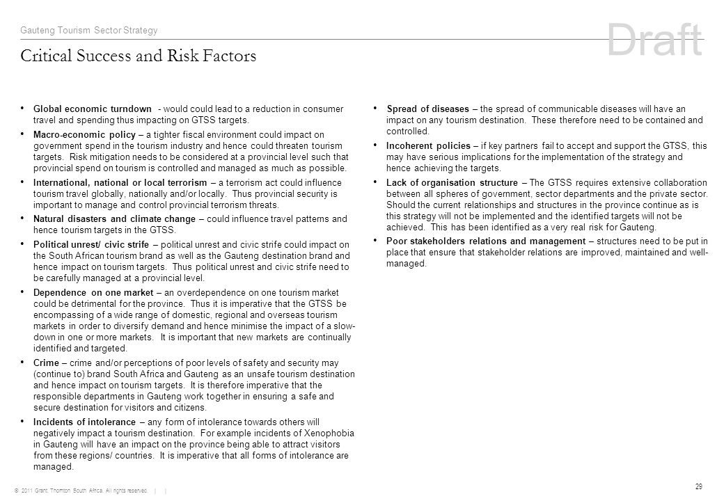 © 2011 Grant Thornton South Africa. All rights reserved. | | 29 Critical Success and Risk Factors Gauteng Tourism Sector Strategy Global economic turn