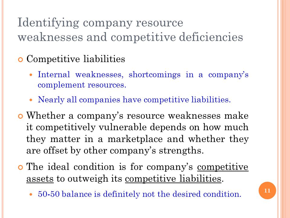 Identifying company resource weaknesses and competitive deficiencies Competitive liabilities Internal weaknesses, shortcomings in a company's compleme