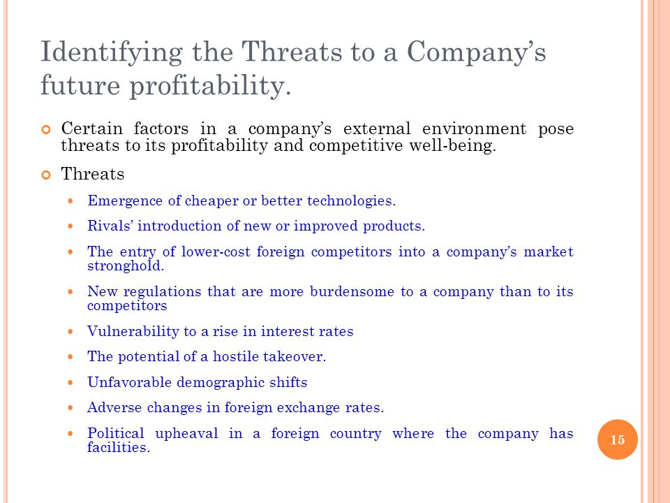 Identifying the Threats to a Company's future profitability. Certain factors in a company's external environment pose threats to its profitability and