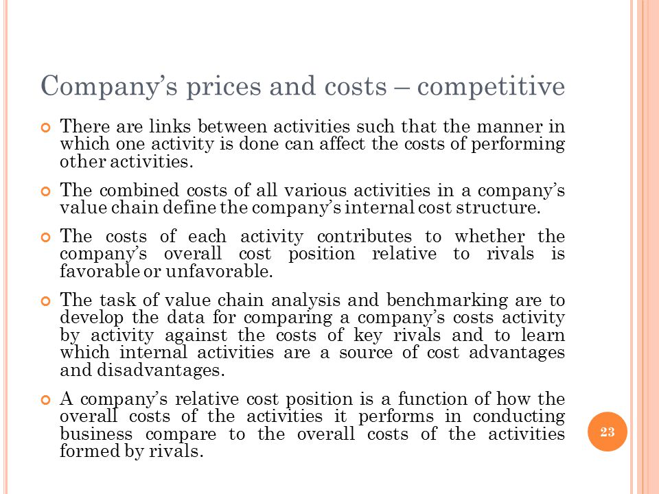 Company's prices and costs – competitive There are links between activities such that the manner in which one activity is done can affect the costs of