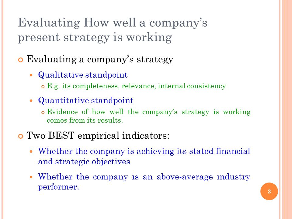 Evaluating How well a company's present strategy is working Evaluating a company's strategy Qualitative standpoint E.g. its completeness, relevance, i