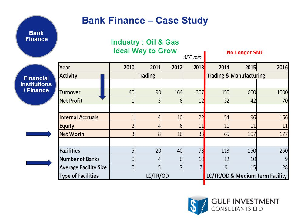 Bank Finance – Case Study Industry : Oil & Gas Ideal Way to Grow Bank Finance Financial Institutions / Finance No Longer SME AED mln