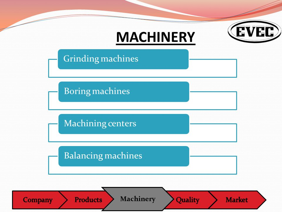 Machinery MACHINERY Grinding machinesBoring machinesMachining centersBalancing machines