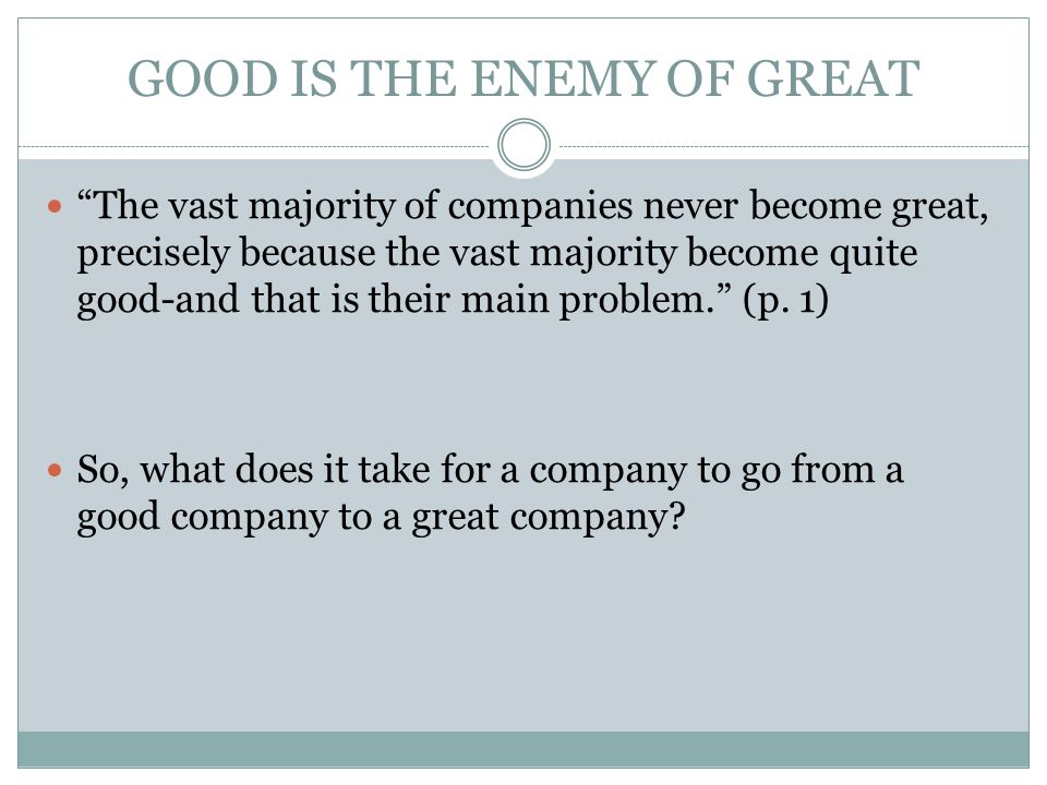 A Conflicting View From the article From Good to Great… Our analysis of Collins' Good to Great study methodology suggests that it suffered from three major problems: 1) Data mining with respect to the selection of the starting month of the company transformation period  Some companies might not have been considered great had their performance results started just a couple months earlier.