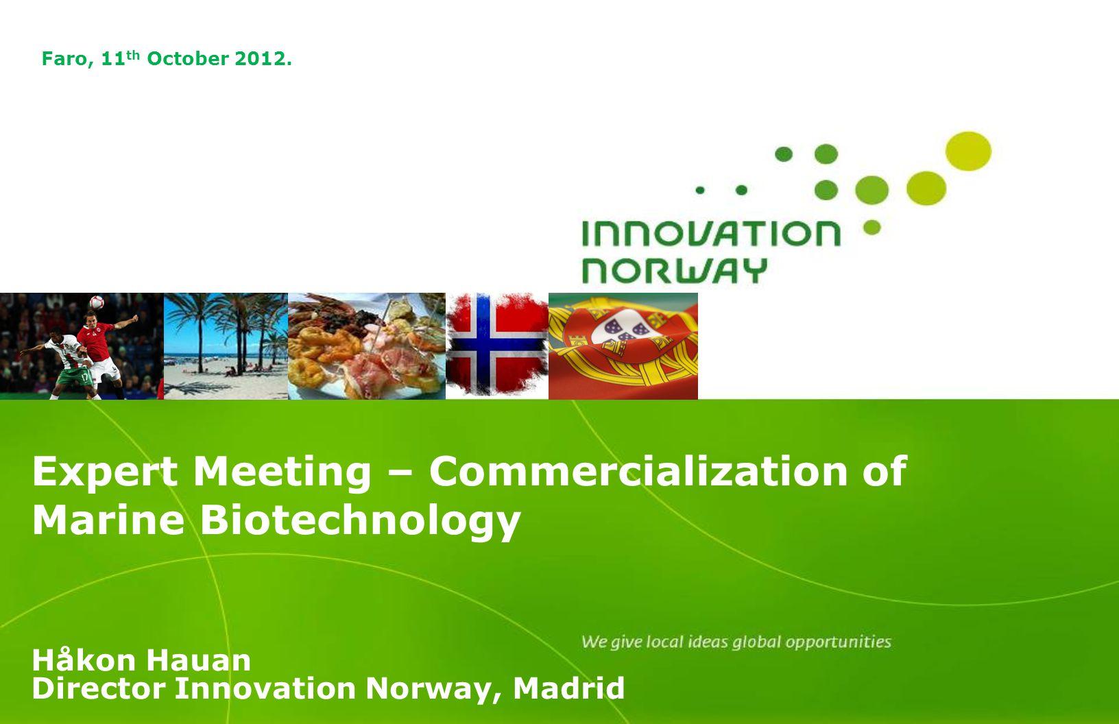 Expert Meeting – Commercialization of Marine Biotechnology Håkon Hauan Director Innovation Norway, Madrid Faro, 11 th October 2012.