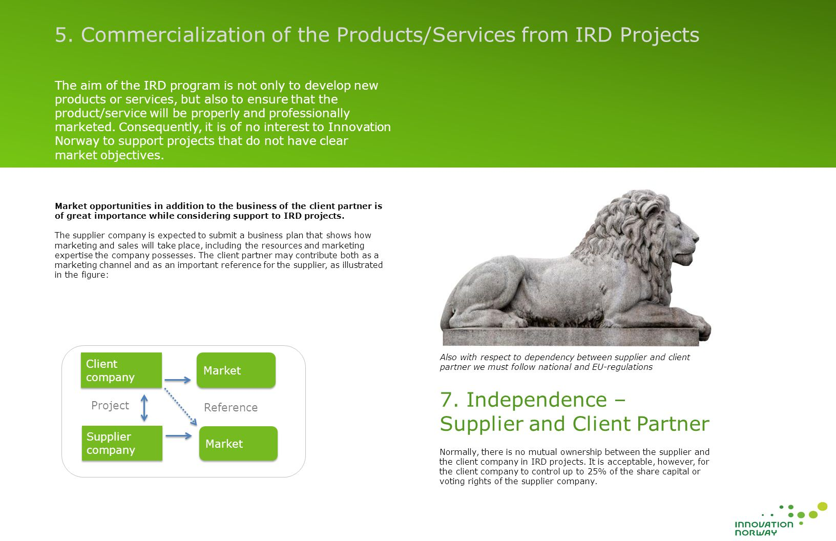 The aim of the IRD program is not only to develop new products or services, but also to ensure that the product/service will be properly and professionally marketed.