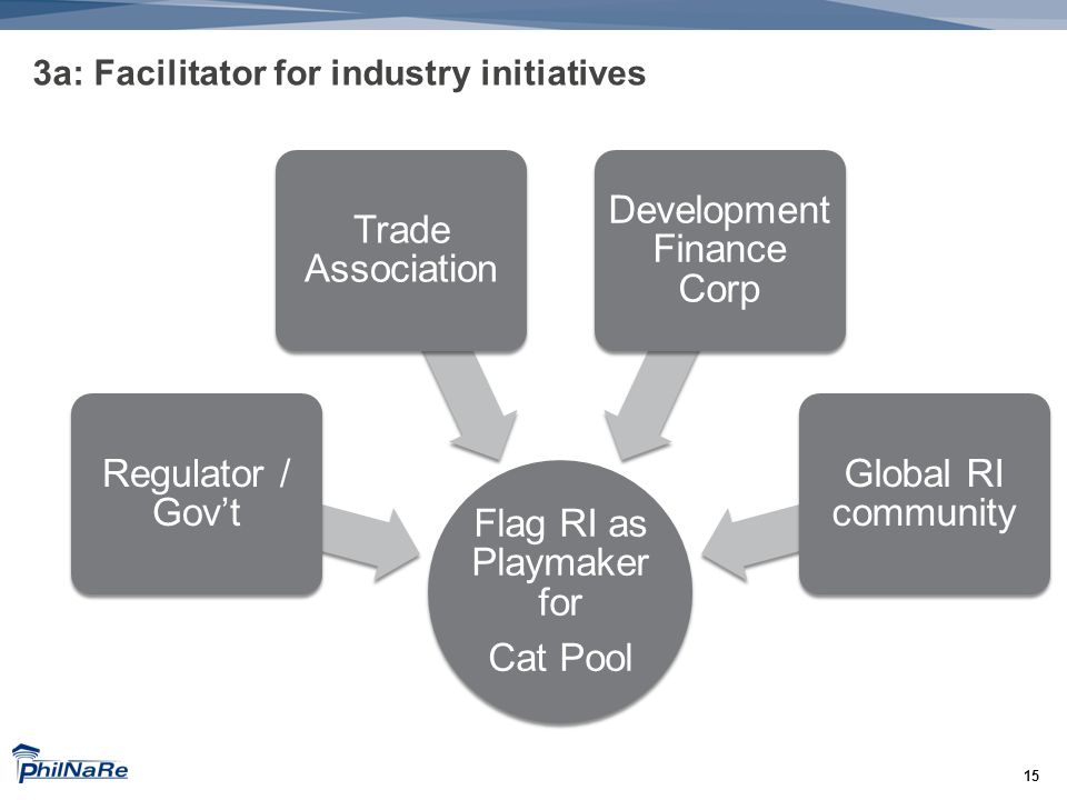 15 3a: Facilitator for industry initiatives Flag RI as Playmaker for Cat Pool Regulator / Gov't Trade Association Development Finance Corp Global RI community