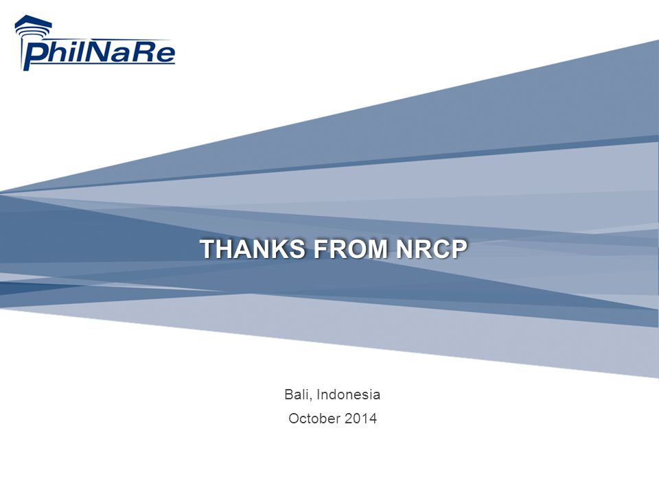 THANKS FROM NRCP Bali, Indonesia October 2014